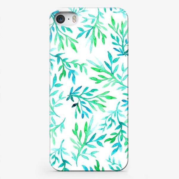Чехол iPhone «Бирюзово-салатовые ветки акварель»
