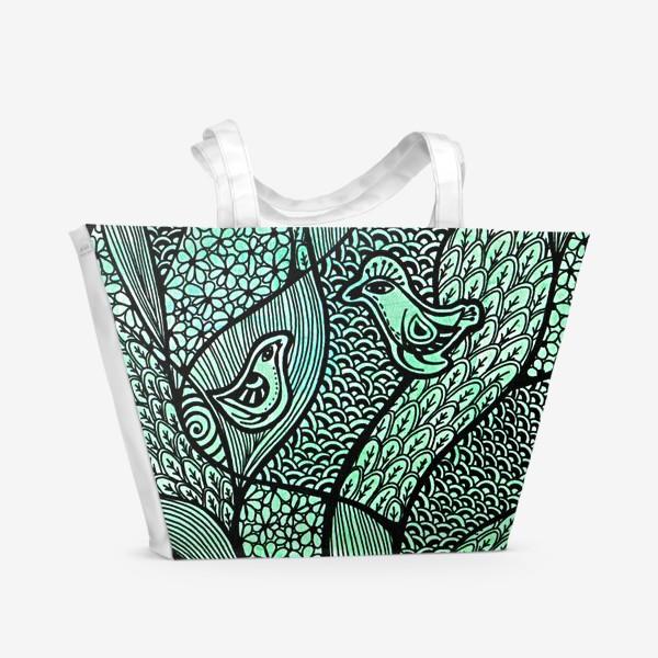 Пляжная сумка «Птицы, свидание в саду»