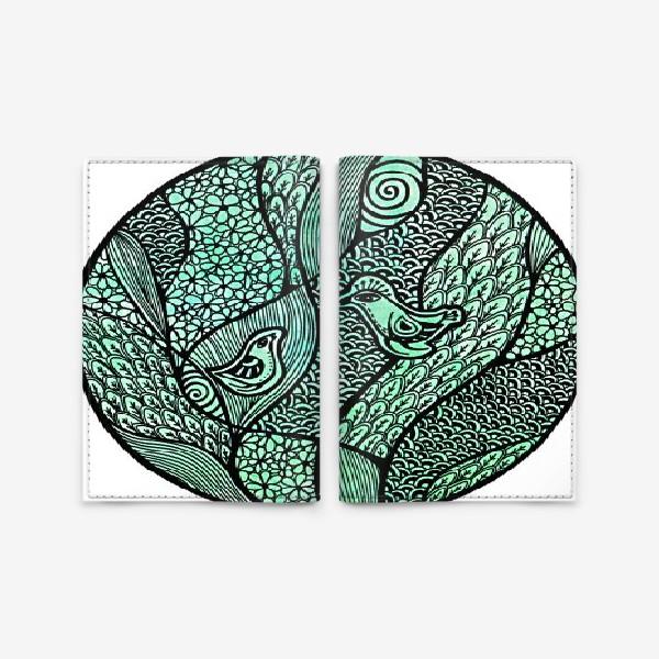 Обложка для паспорта «Птицы, свидание в саду»