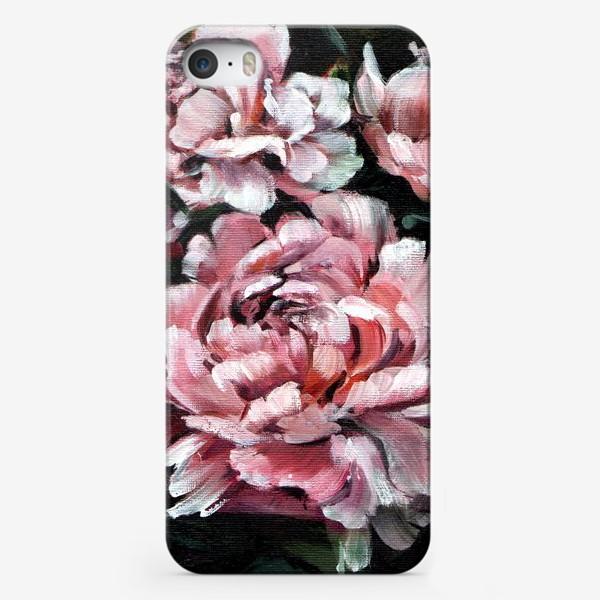 Чехол iPhone «Пионы на черном»