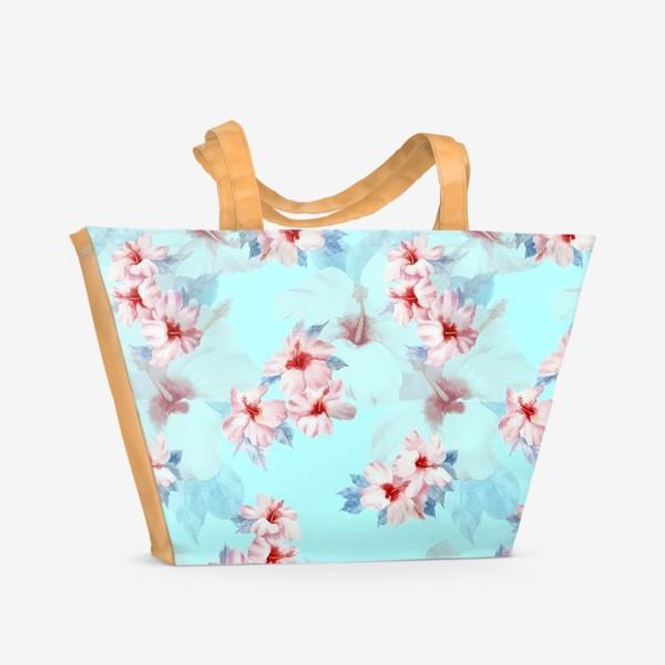 Пляжная сумка «Гибискус Акварель»