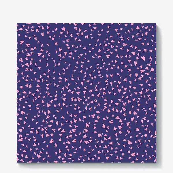 Холст «Милые маленькие сердечки на фиолетовом фоне»