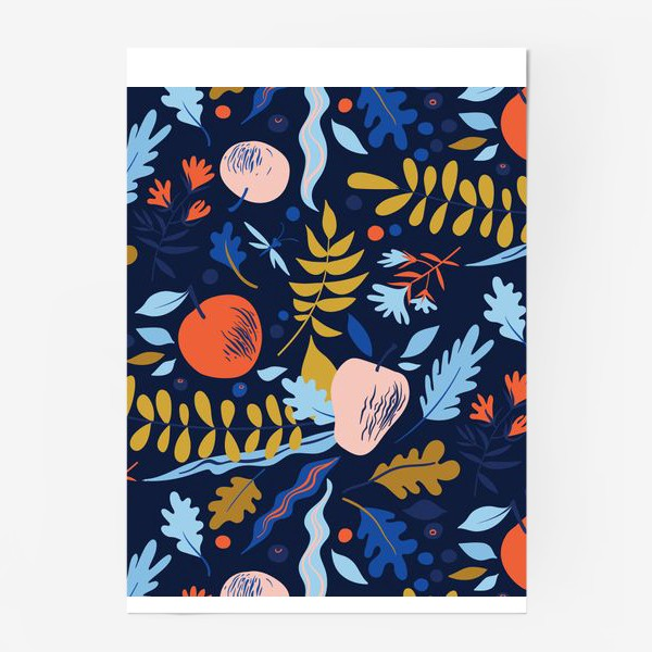 Постер «осенний паттерн с яблоками и цветами»
