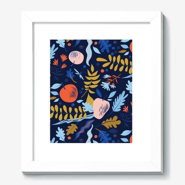 Картина «осенний паттерн с яблоками и цветами»