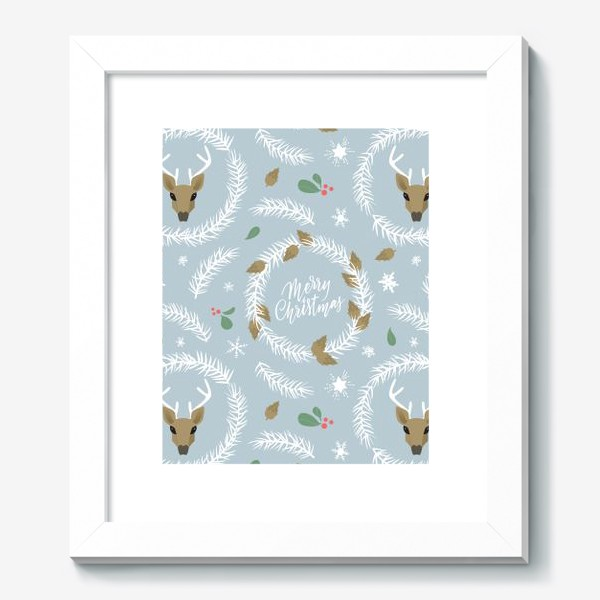 Картина «Рождественский паттерн с оленями»