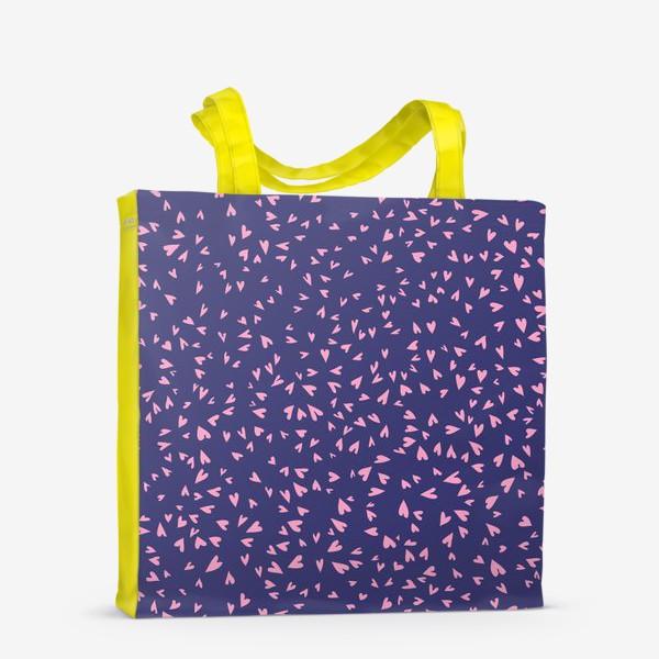 Сумка-шоппер «Милые маленькие сердечки на фиолетовом фоне»