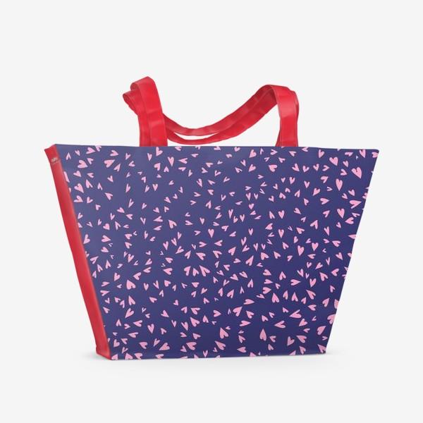 Пляжная сумка «Милые маленькие сердечки на фиолетовом фоне»