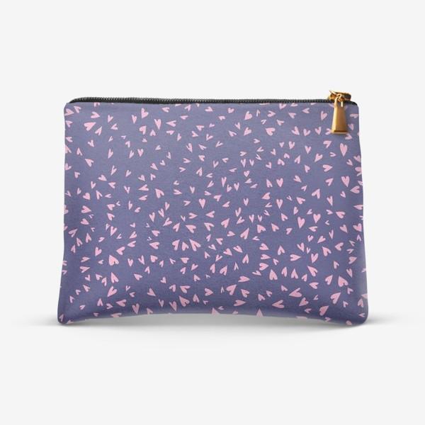 Косметичка «Милые маленькие сердечки на фиолетовом фоне»