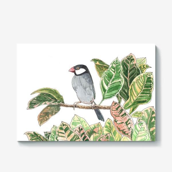 Холст «Птичка на цветочной ветке»