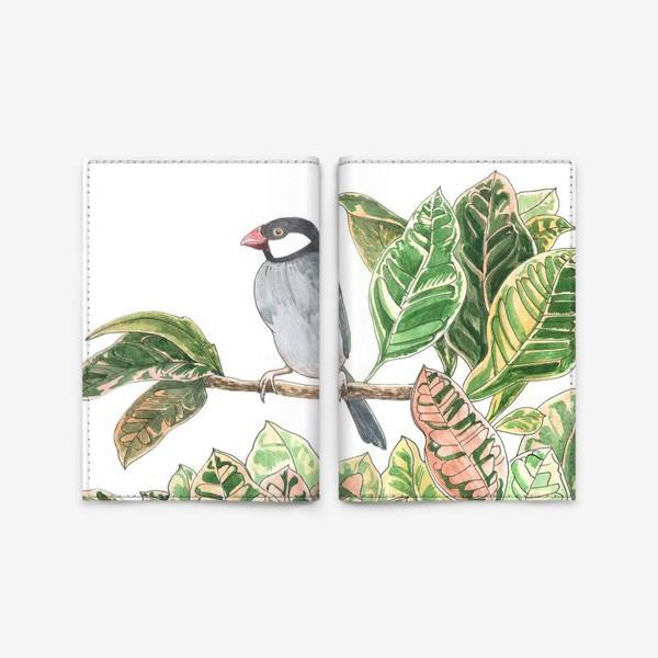 Обложка для паспорта «Птичка на цветочной ветке»