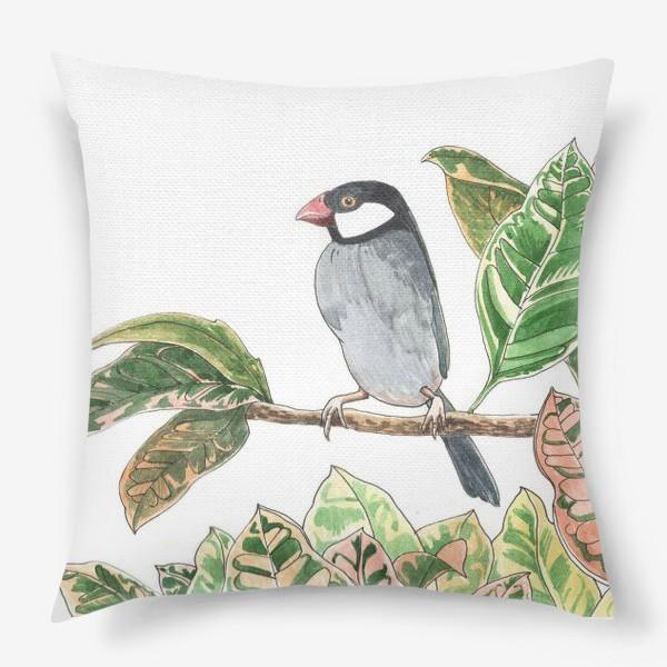 Подушка «Птичка на цветочной ветке»