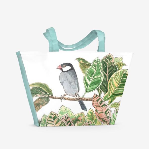 Пляжная сумка «Птичка на цветочной ветке»