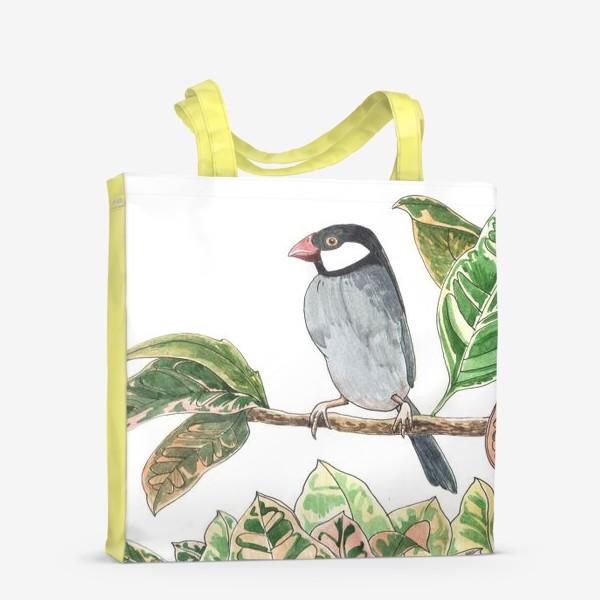 Сумка-шоппер «Птичка на цветочной ветке»