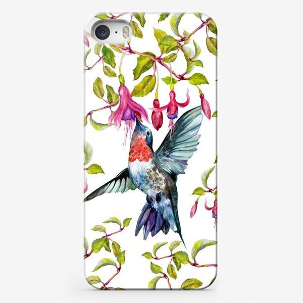 Чехол iPhone «Птица колибри и фуксия\Birds»