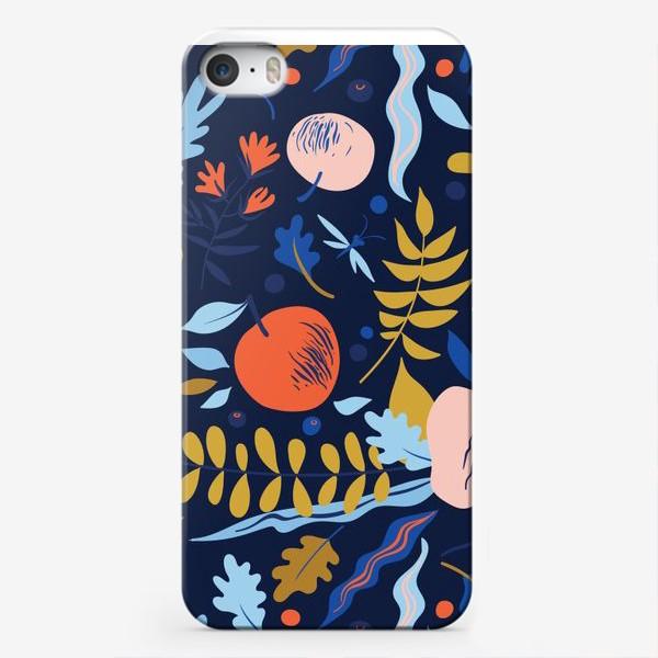 Чехол iPhone «осенний паттерн с яблоками и цветами»