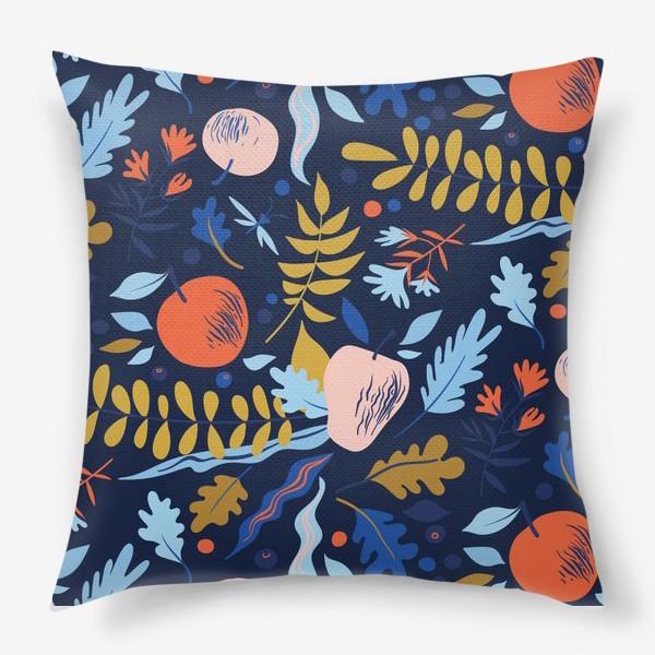 Подушка «осенний паттерн с яблоками и цветами»