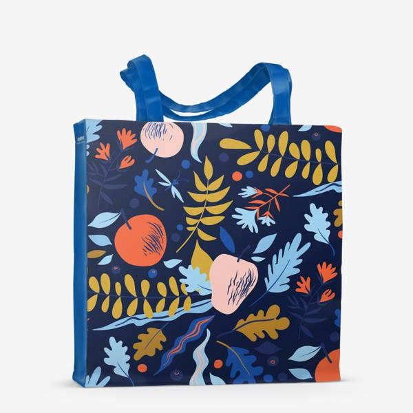 Сумка-шоппер «осенний паттерн с яблоками и цветами»