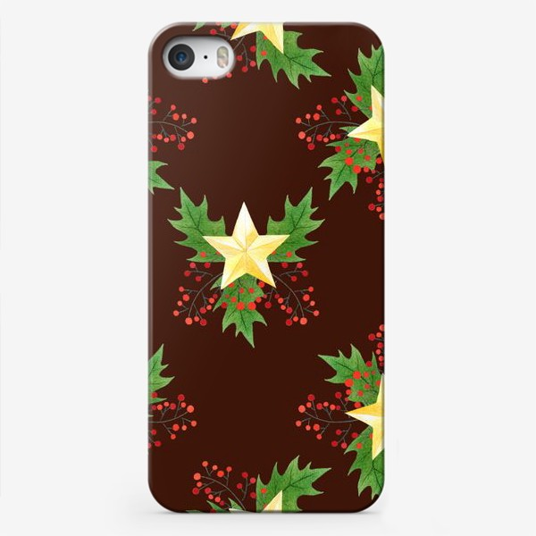 Чехол iPhone «Рождественский паттерн с золотыми звездами»