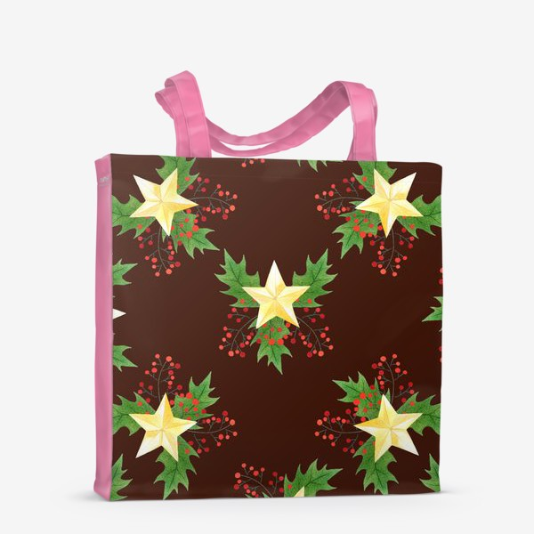 Сумка-шоппер «Рождественский паттерн с золотыми звездами»