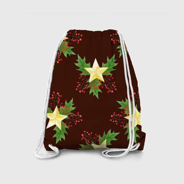 Рюкзак «Рождественский паттерн с золотыми звездами»