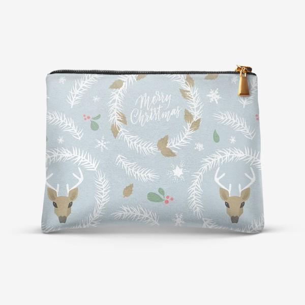 Косметичка «Рождественский паттерн с оленями»