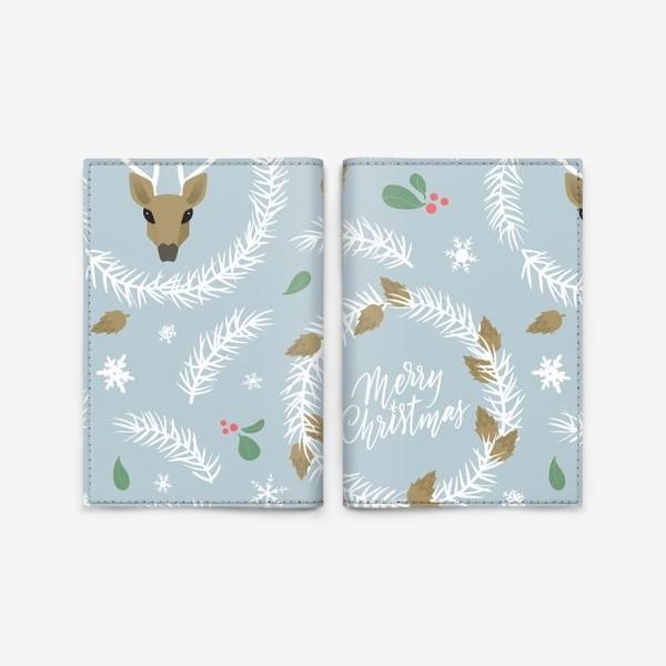 Обложка для паспорта «Рождественский паттерн с оленями»