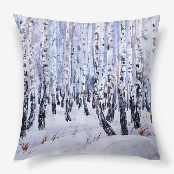 Подушка «Зимние берёзки»