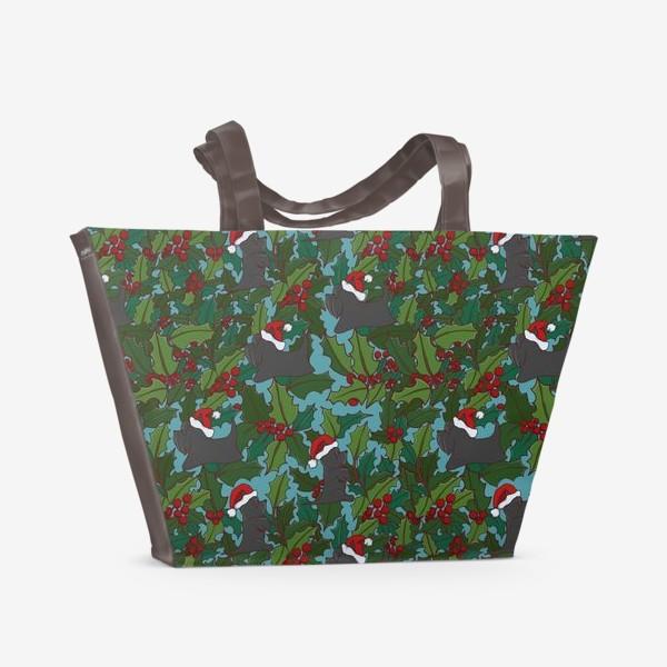 Пляжная сумка «Рождественский паттерн с Шотландскими терьерами»