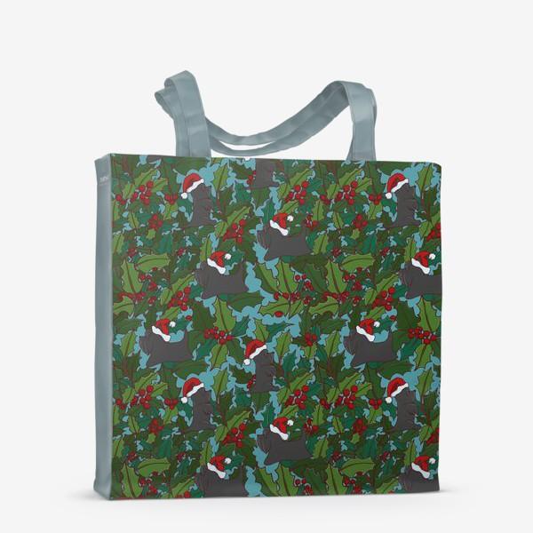 Сумка-шоппер «Рождественский паттерн с Шотландскими терьерами»