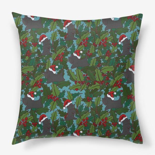 Подушка «Рождественский паттерн с Шотландскими терьерами»