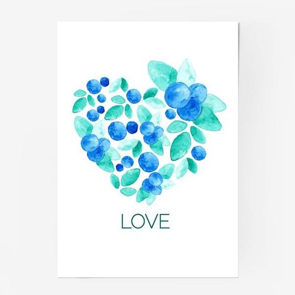 Постер «Сердце из листьев и ягод голубики»