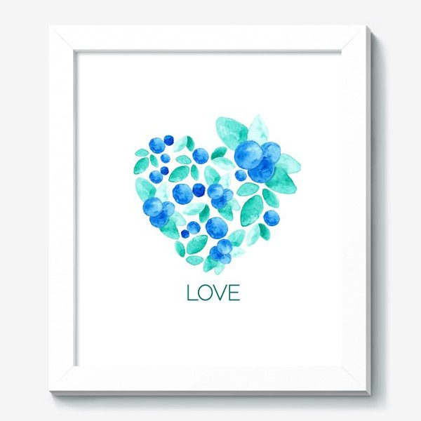 Картина «Сердце из листьев и ягод голубики»