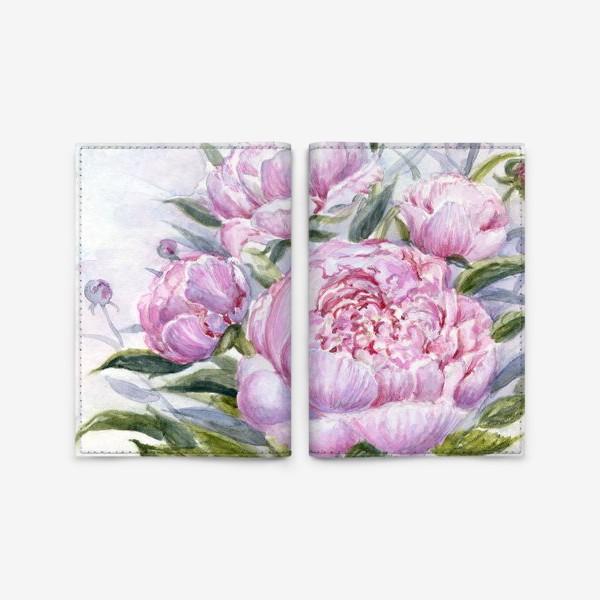"""Обложка для паспорта «""""Цветочная серия.Нежно-розовые пионы"""".»"""