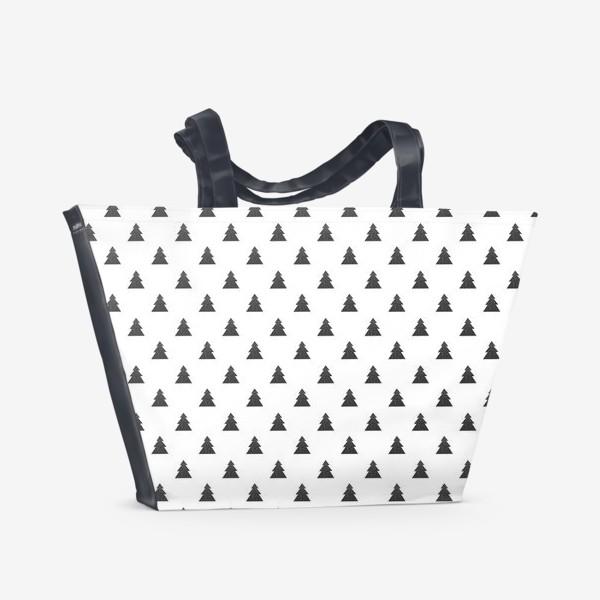 Пляжная сумка «Новогодний паттерн с черными елками Black Collection»