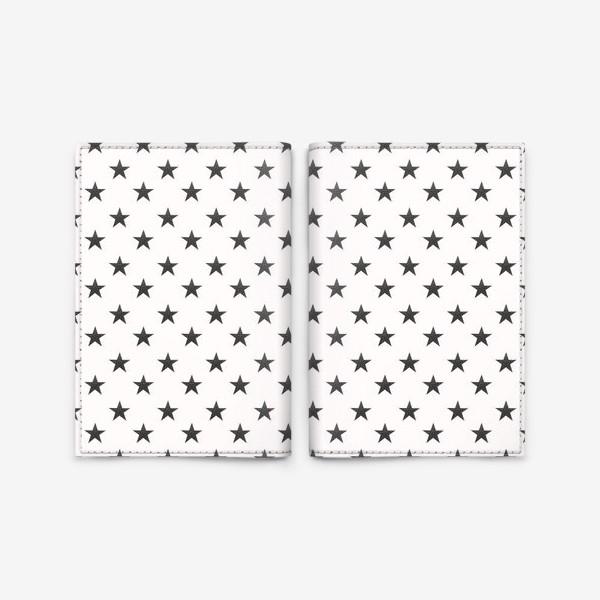 Обложка для паспорта «Паттерн с черными звездами grunge Black Collection»