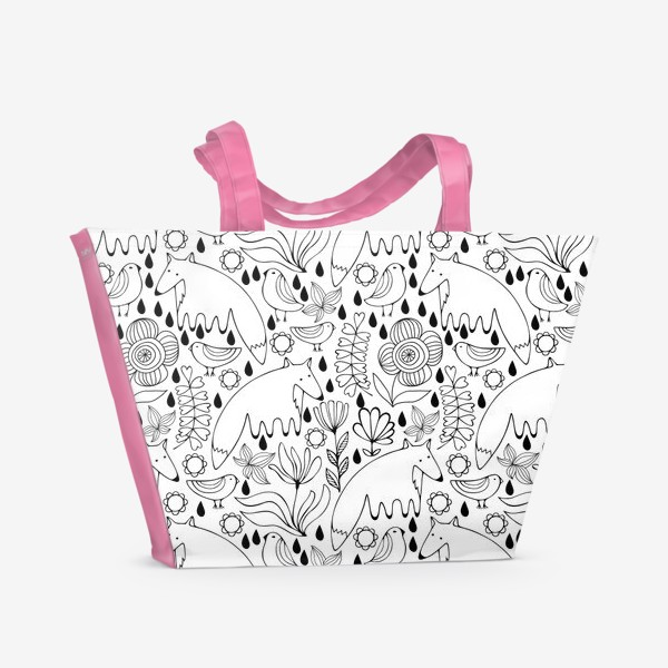 Пляжная сумка «Белые лисы»