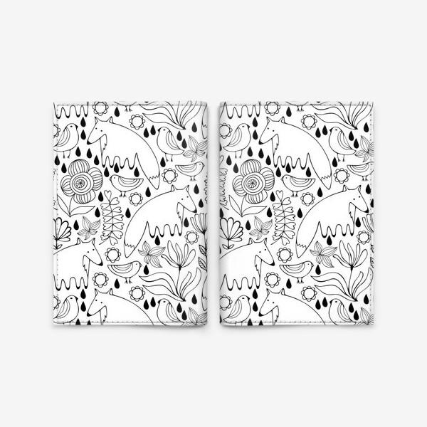 Обложка для паспорта «Белые лисы»