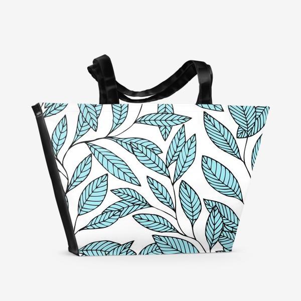 Пляжная сумка «Нежные ветки в голубом цвете»