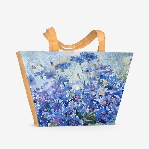 Пляжная сумка «Букет полевых васильков»