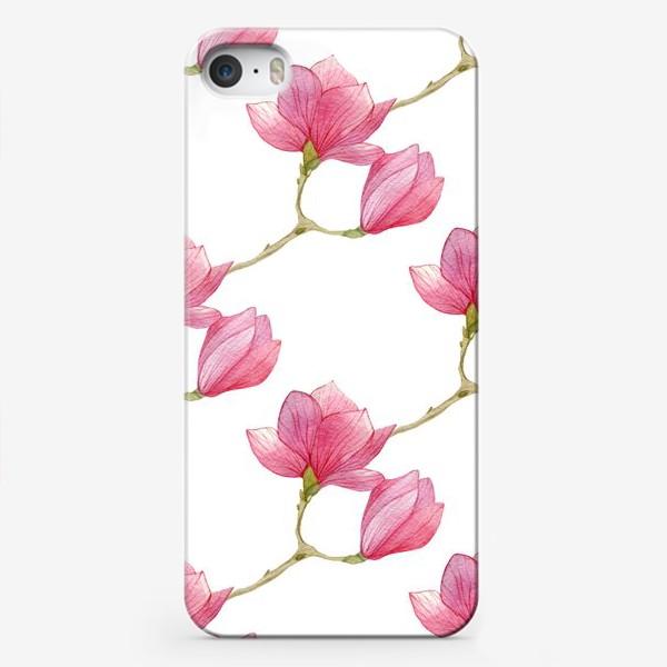 Чехол iPhone «Весенний паттерн из веток магнолии»