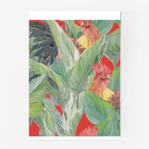 Постер «паттерн с петухами»