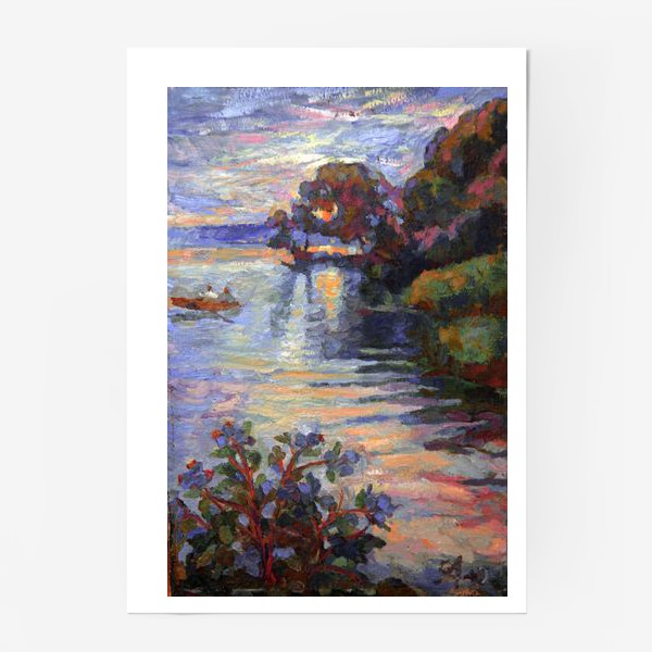 Постер «Evening on the lake | Sunset»
