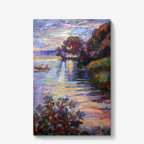 Холст «Evening on the lake   Sunset»