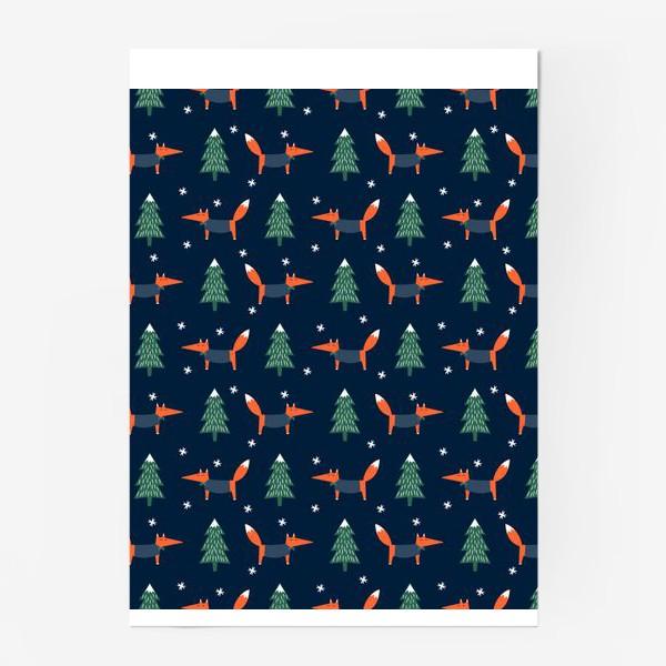 Постер «лис в зимнем лесу»