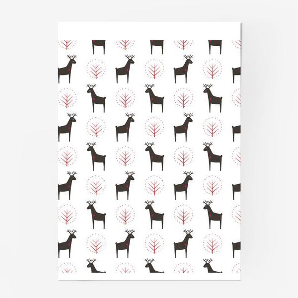 Постер «Рождественские олени»