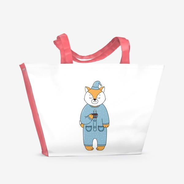 Пляжная сумка «Лиса с чашкой кофе»