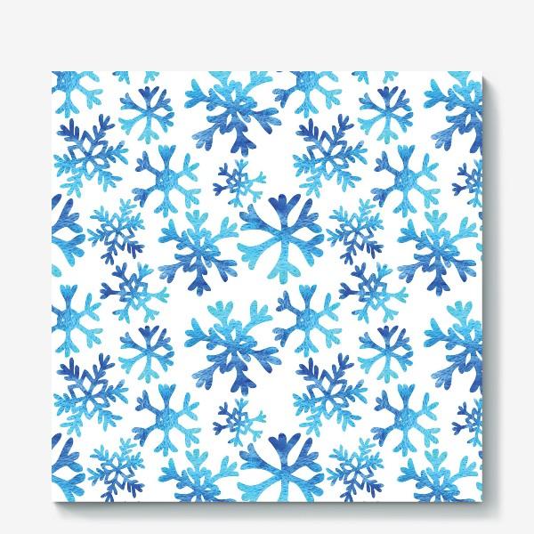 Холст «Снежинки в акварели»