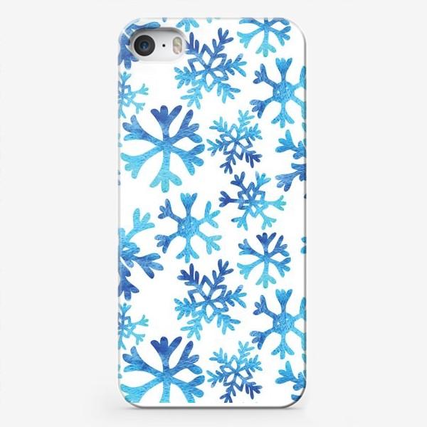 Чехол iPhone «Снежинки в акварели»