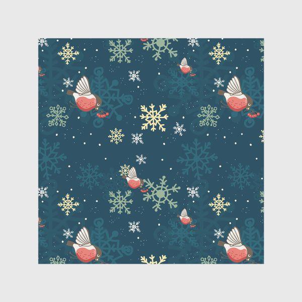 Скатерть «Рождественский узор со снежинками и птичками»