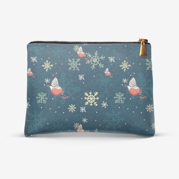 Косметичка «Рождественский узор со снежинками и птичками»